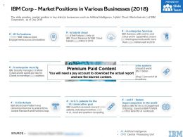 IBM Corp Market Positions In Various Businesses 2018