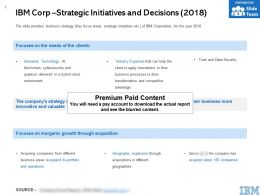 IBM Corp Strategic Initiatives And Decisions 2018