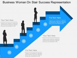 ic Business Woman On Stair Success Representation Flat Powerpoint Design
