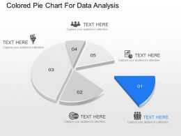Ic Colored Pie Chart With Five Pieces And Icons Powerpoint Template