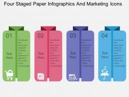 Ic Four Staged Paper Infographics And Marketing Icons Flat Powerpoint Design