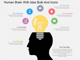 Ic Human Brain With Idea Bulb And Icons Flat Powerpoint Design