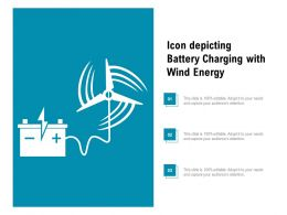 Icon Depicting Battery Charging With Wind Energy