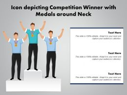 Icon Depicting Competition Winner With Medals Around Neck