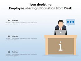 Icon Depicting Employee Sharing Information From Desk