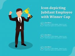 Icon Depicting Jubilant Employee With Winner Cup