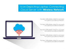 Icon Depicting Laptop Connecting Cloud Server With Wireless Network