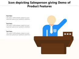 Icon Depicting Salesperson Giving Demo Of Product Features