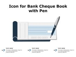 Icon For Bank Cheque Book With Pen