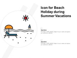 Icon For Beach Holiday During Summer Vacations