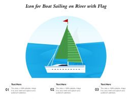 Icon For Boat Sailing On River With Flag