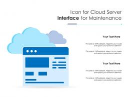Icon For Cloud Server Interface For Maintenance