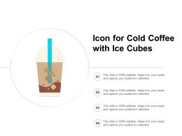 Icon For Cold Coffee With Ice Cubes