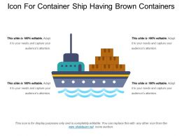 Icon For Container Ship Having Brown Containers