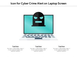 Icon For Cyber Crime Alert On Laptop Screen