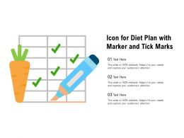 Icon For Diet Plan With Marker And Tick Marks