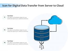 Icon For Digital Data Transfer From Server To Cloud