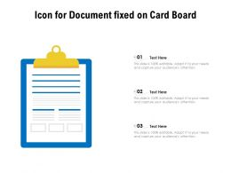 Icon For Document Fixed On Card Board