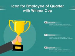 Icon For Employee Of Quarter With Winner Cup