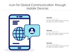 Icon For Global Communication Through Mobile Devices