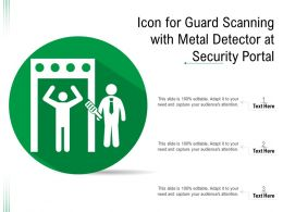 Icon For Guard Scanning With Metal Detector At Security Portal