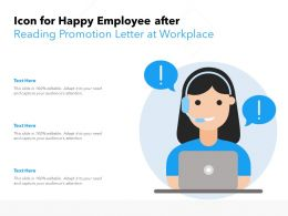 Icon For Happy Employee After Reading Promotion Letter At Workplace