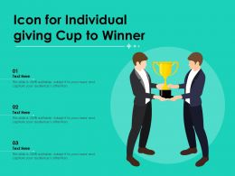 Icon For Individual Giving Cup To Winner