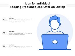 Icon For Individual Reading Freelance Job Offer On Laptop