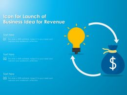 Icon For Launch Of Business Idea For Revenue