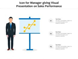 Icon For Manager Giving Visual Presentation On Sales Performance