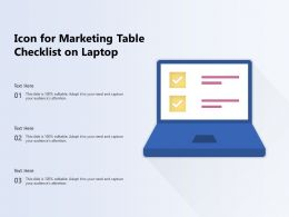 Icon For Marketing Table Checklist On Laptop