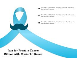 Icon For Prostate Cancer Ribbon With Mustache Drawn