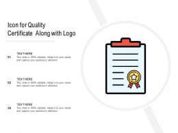 Icon For Quality Certificate Along With Logo