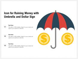 Icon For Raining Money With Umbrella And Dollar Sign