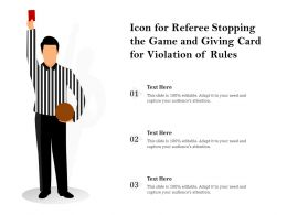 Icon For Referee Stopping The Game And Giving Card For Violation Of Rules