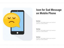 Icon For Sad Message On Mobile Phone