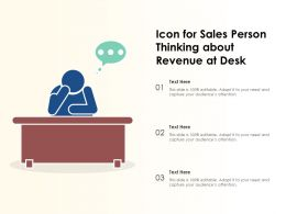 Icon For Sales Person Thinking About Revenue At Desk