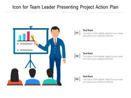 Icon For Team Leader Presenting Project Action Plan