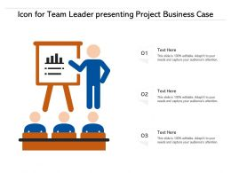 Icon For Team Leader Presenting Project Business Case