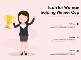 Icon For Woman Holding Winner Cup