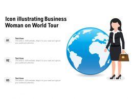 Icon Illustrating Business Woman On World Tour