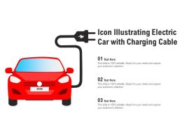 Icon Illustrating Electric Car With Charging Cable