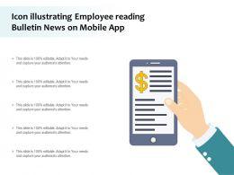 Icon Illustrating Employee Reading Bulletin News On Mobile App