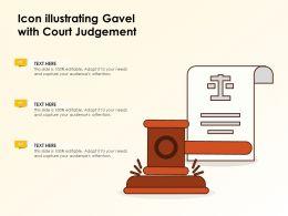 Icon Illustrating Gavel With Court Judgement