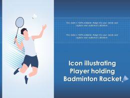 Icon Illustrating Player Holding Badminton Racket