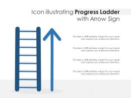 Icon Illustrating Progress Ladder With Arrow Sign