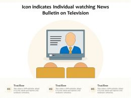Icon Indicates Individual Watching News Bulletin On Television