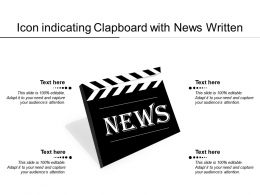 Icon Indicating Clapboard With News Written
