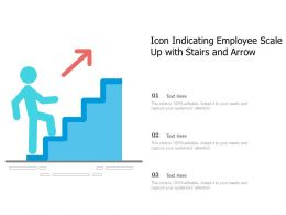 Icon Indicating Employee Scale Up With Stairs And Arrow