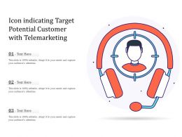 Icon Indicating Target Potential Customer With Telemarketing